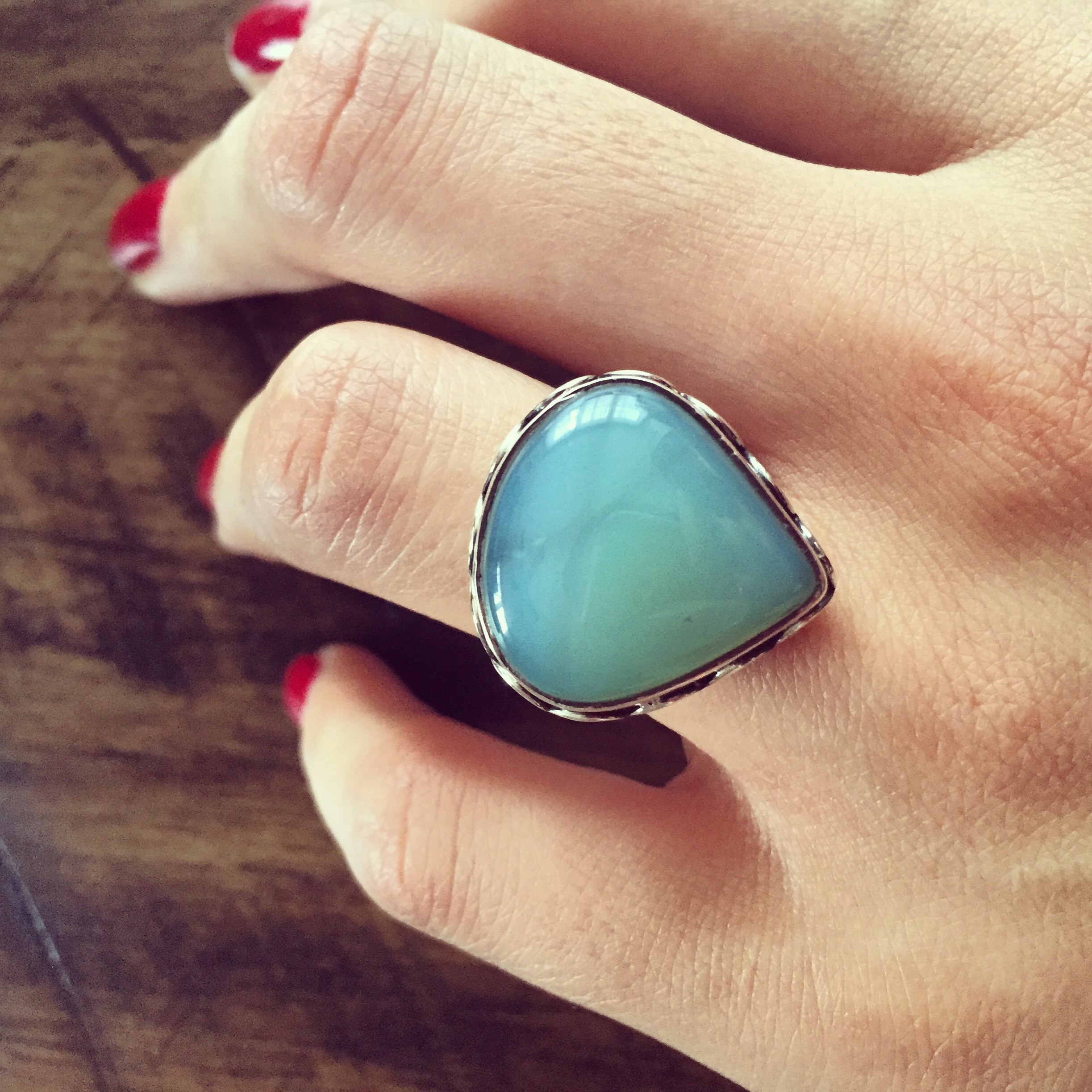 Chalcedony 925 Sterling Silver Ring