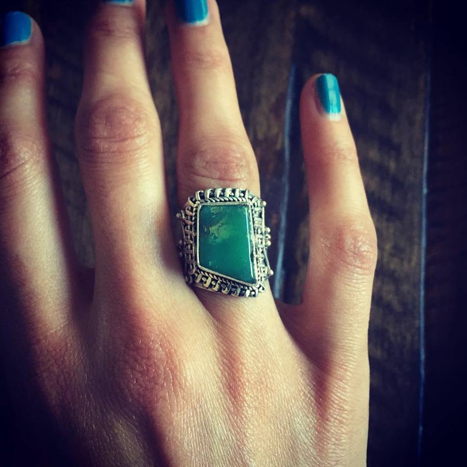 Chrysoprase 925 Sterling Silver Ring