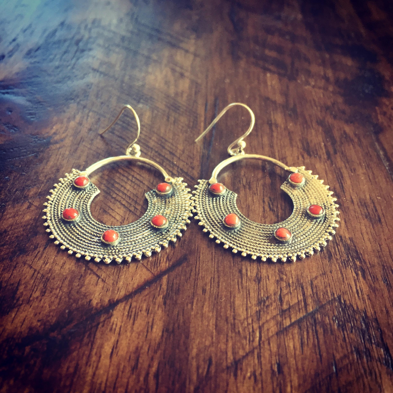 Coral 925 Sterling Silver Earrings