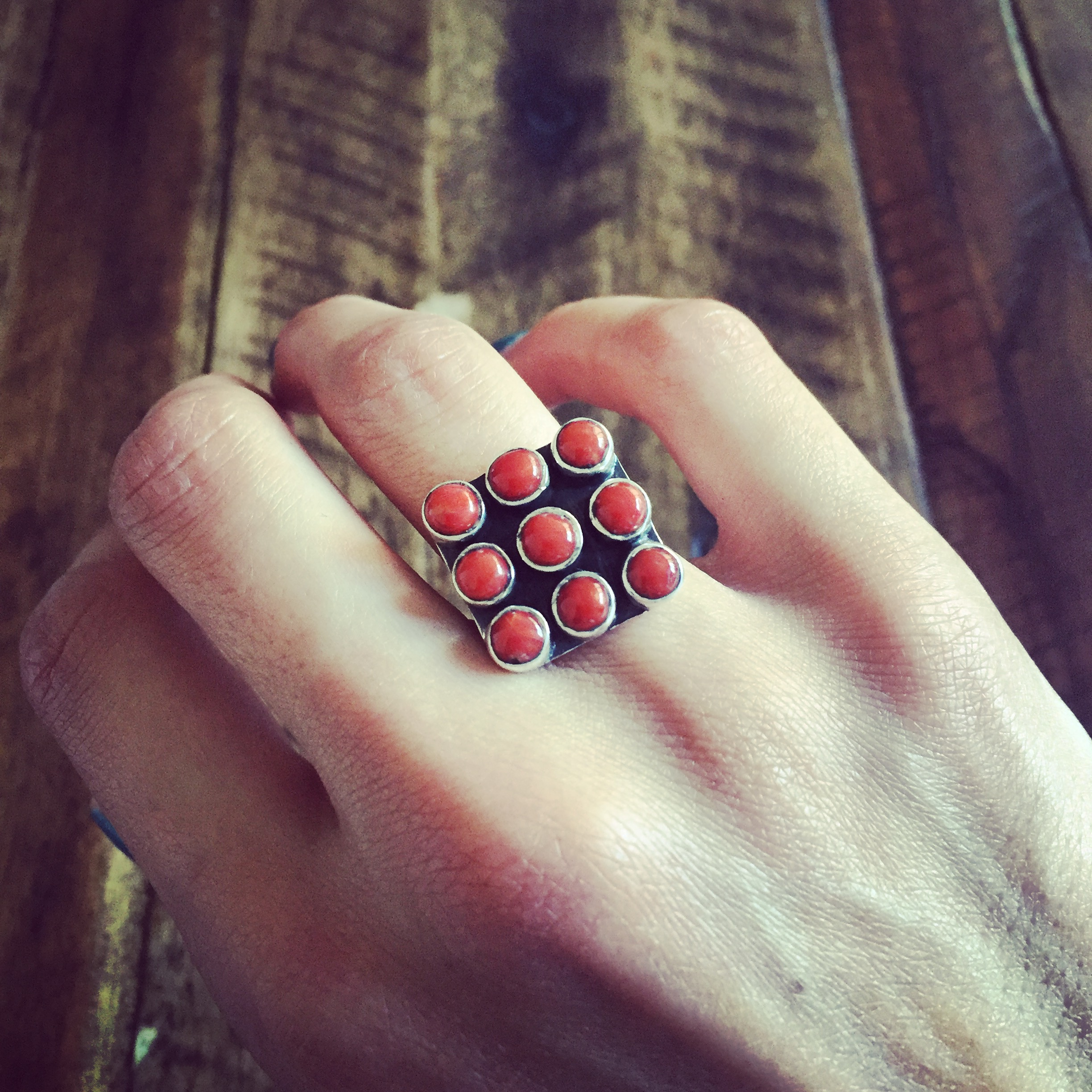 Coral 925 Sterling Silver Ring