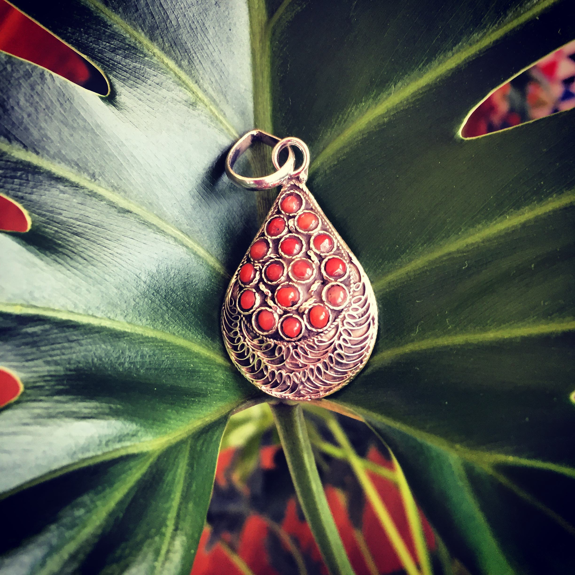 Coral 925 Sterling Silver pendant