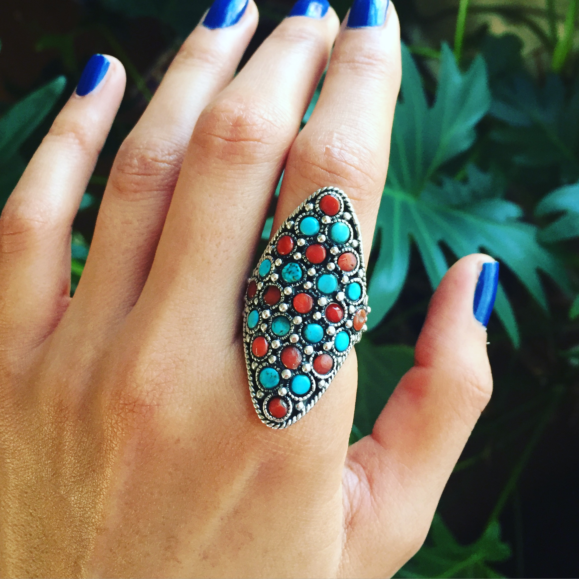 Coral Turquoise 925 Sterling Silver Ring