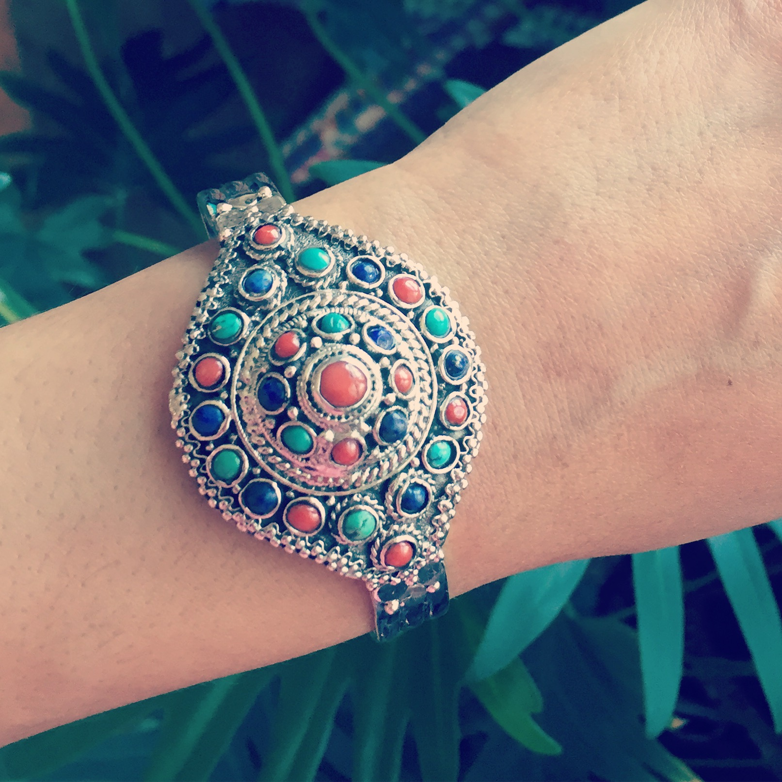 Coral Turquoise and Lapis 925 Sterling Silver Bracelet