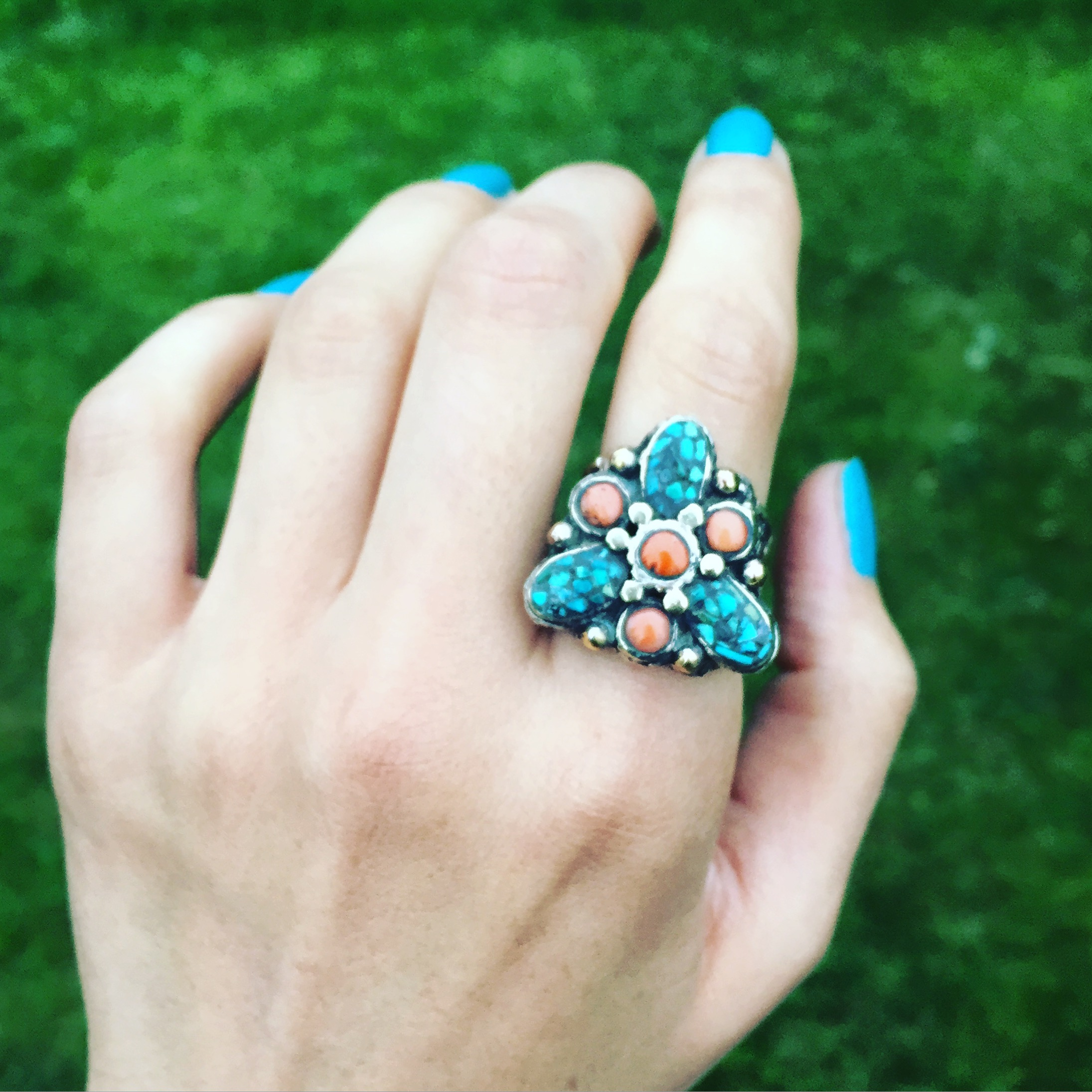 Coral Turquoise Silver Plated Ring