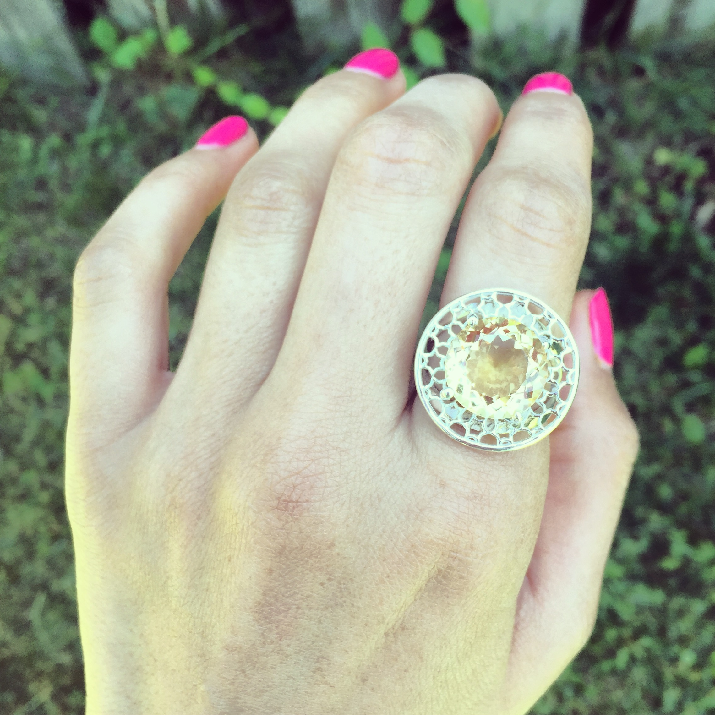 Day dream citrine shiny silver ring