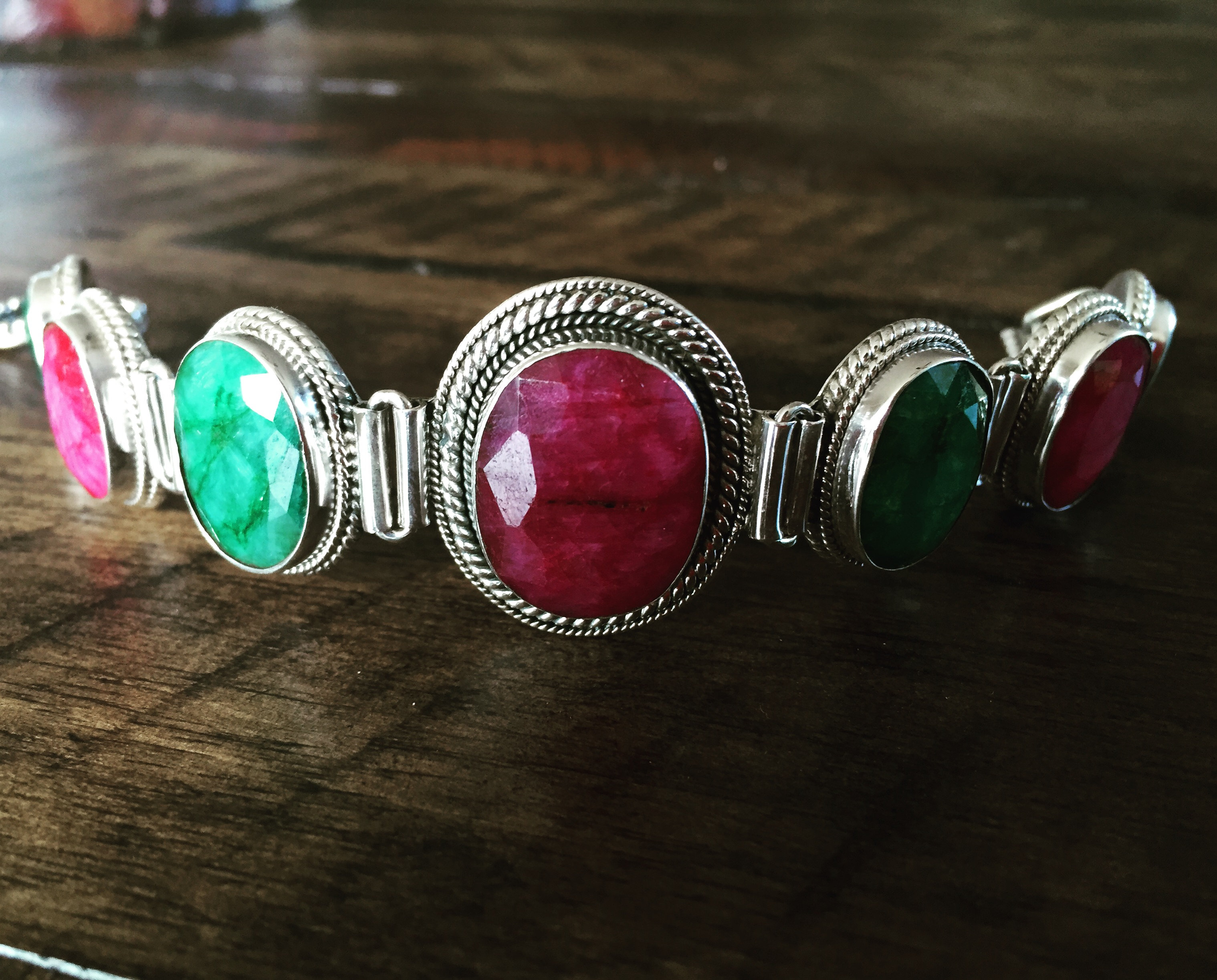 Emerald and Ruby 925 Sterling Silver Bracelet