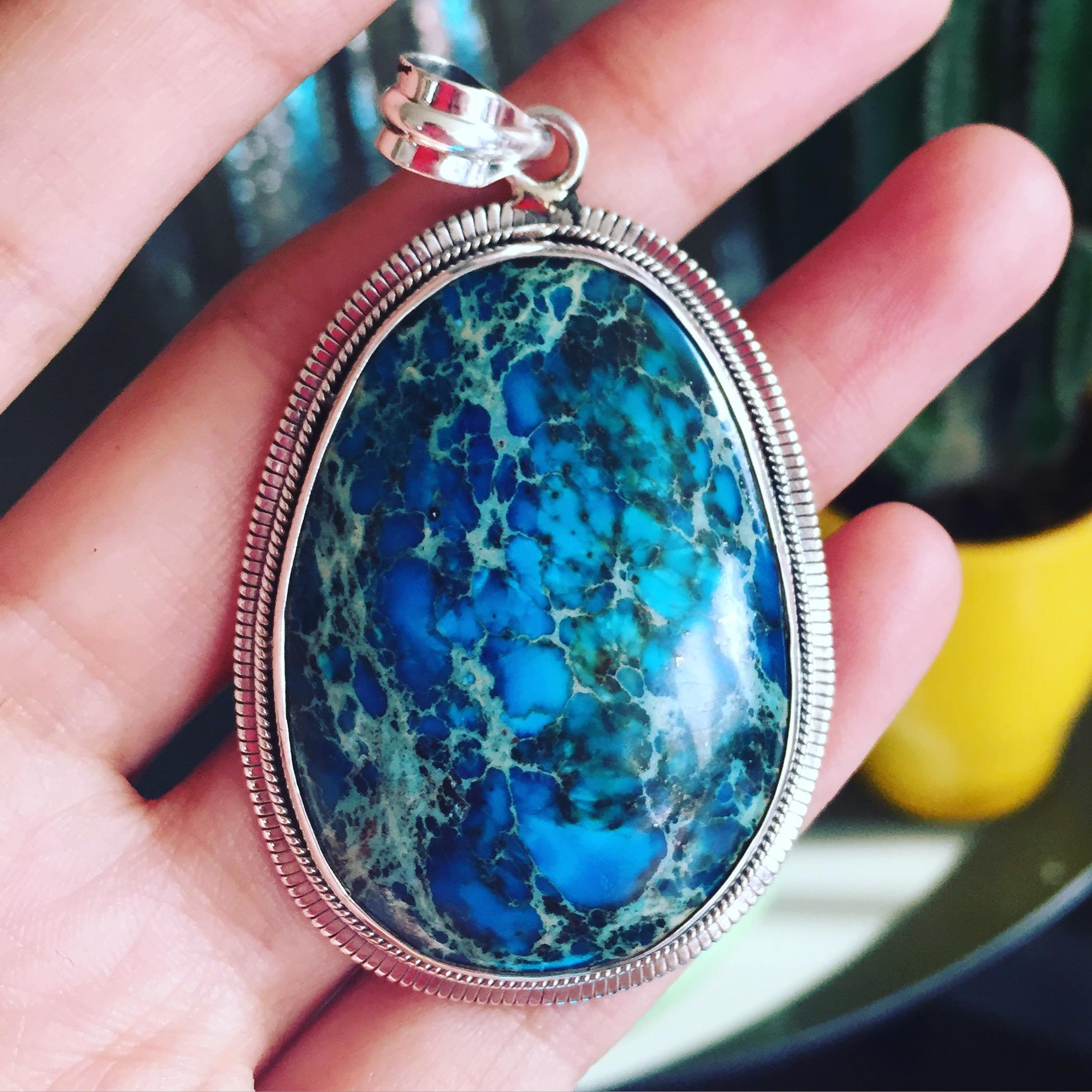 Fuchsite ocean dream sterling silver pendant