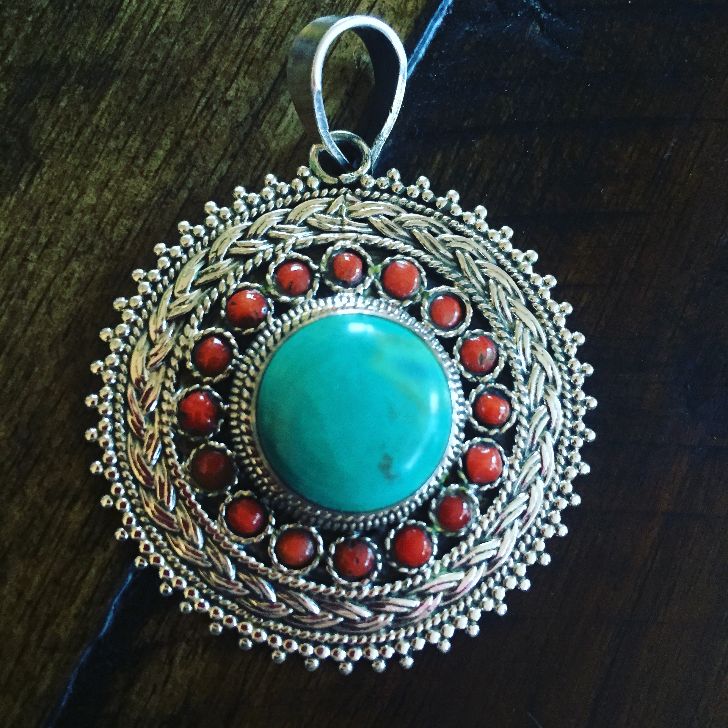 Turquoise and coral sterling silver big pendant finalsilver turquoise and coral sterling silver big pendant aloadofball Image collections