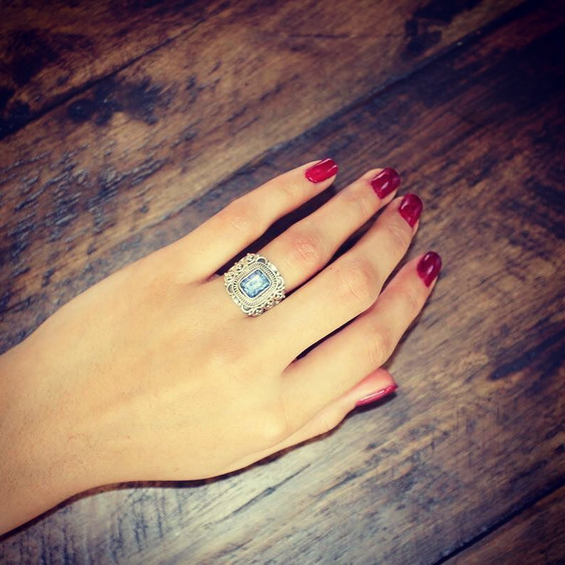 Sterling silver ring with lolite semi precious stone