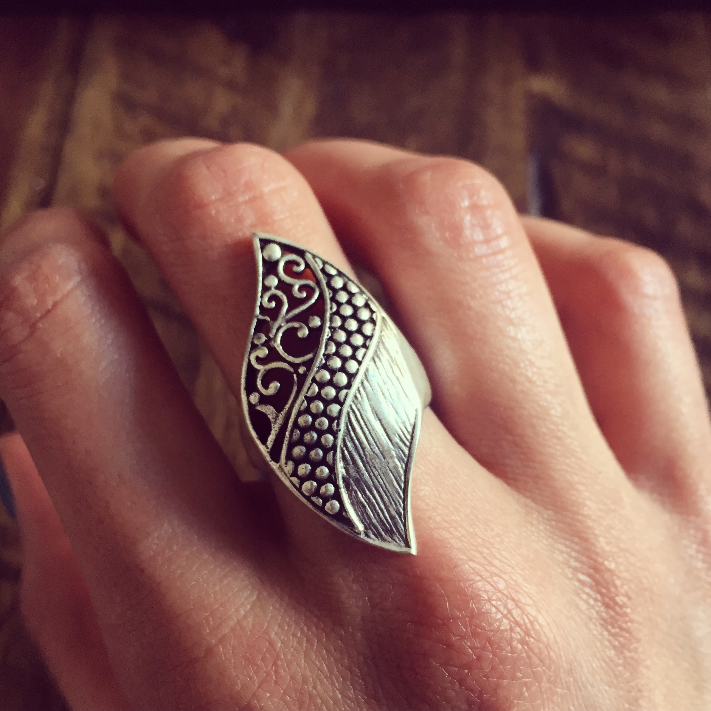 flowers guard plain sterling silver ring