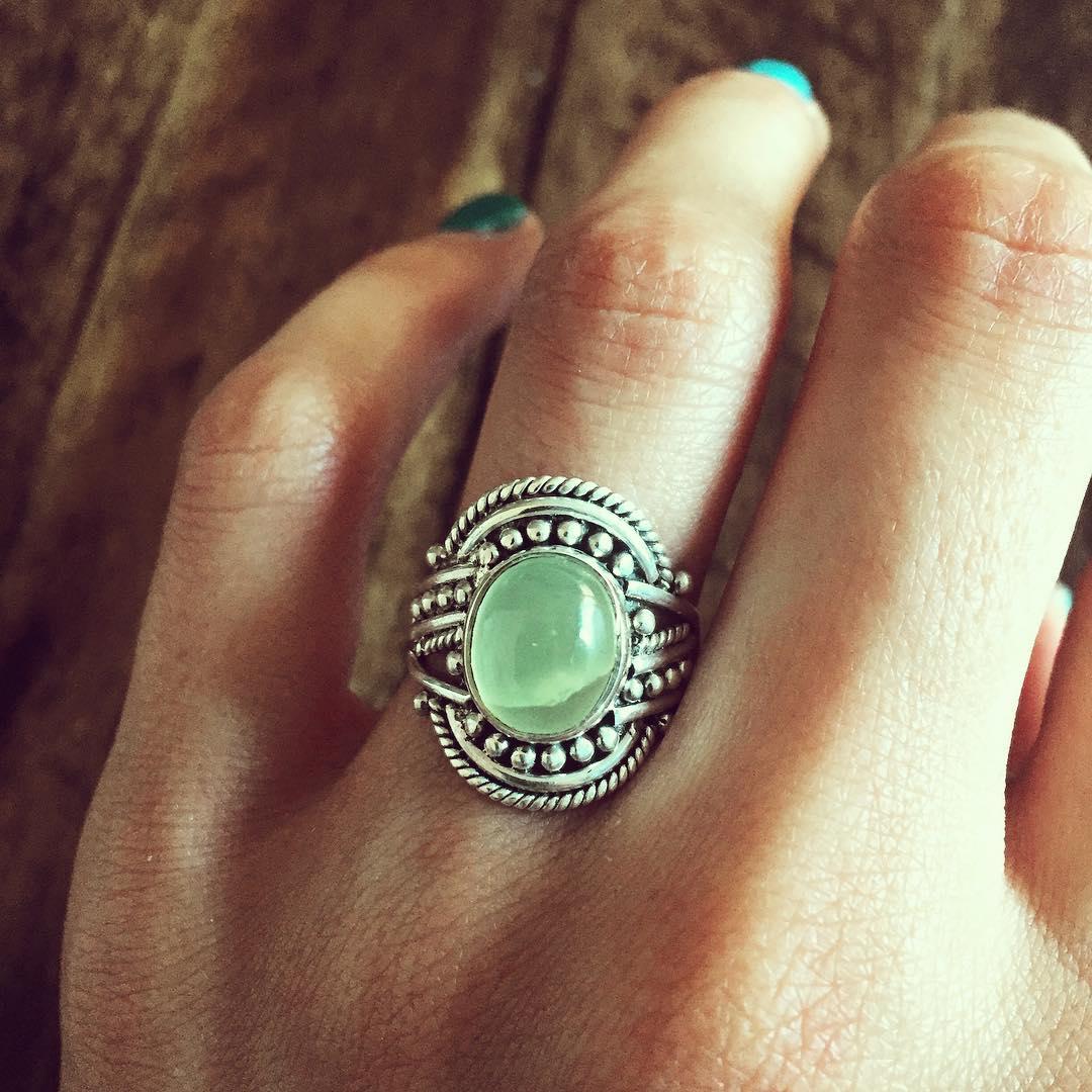 Prehnite 925 Sterling Silver Ring