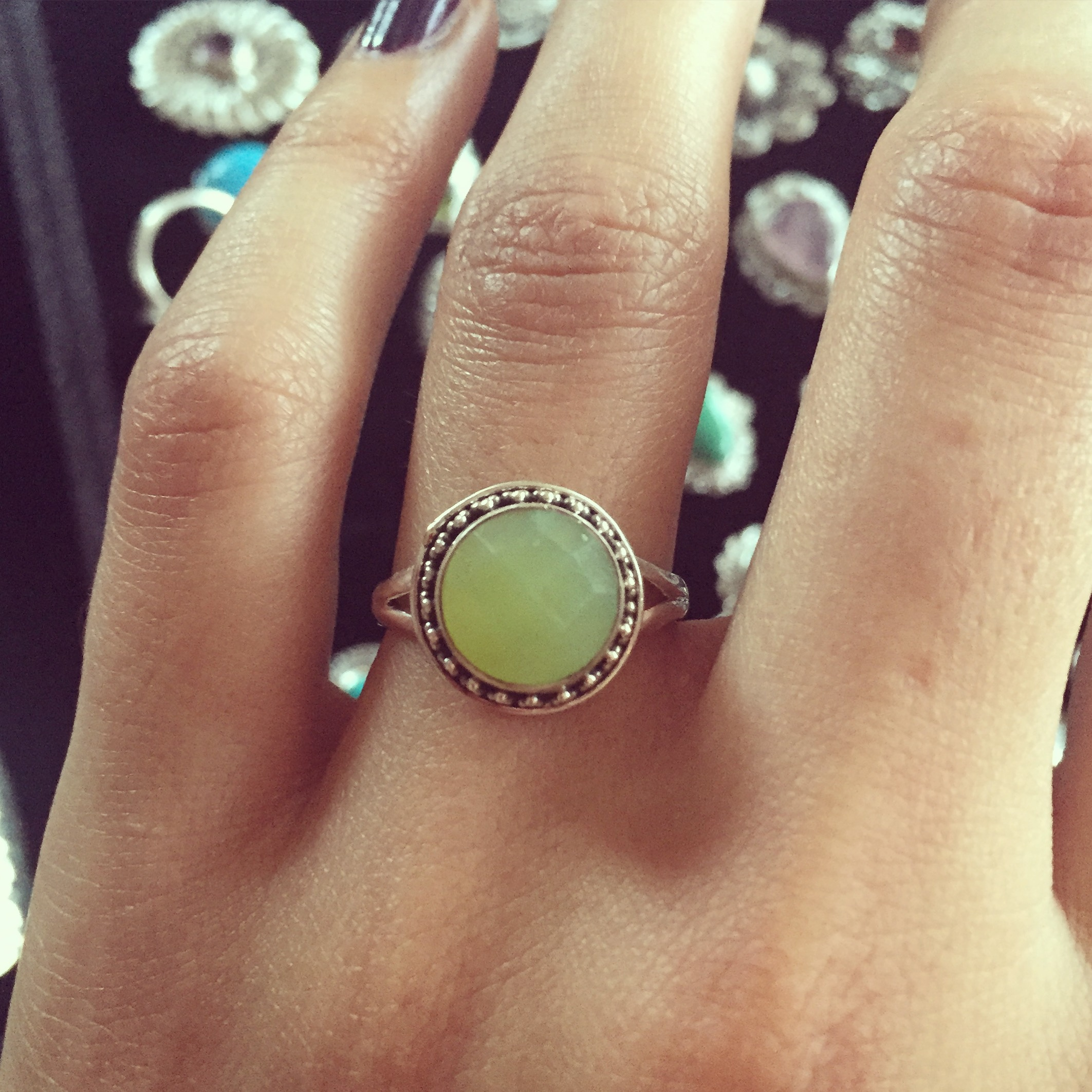 Prehnite 925 Sterling Silver Ring