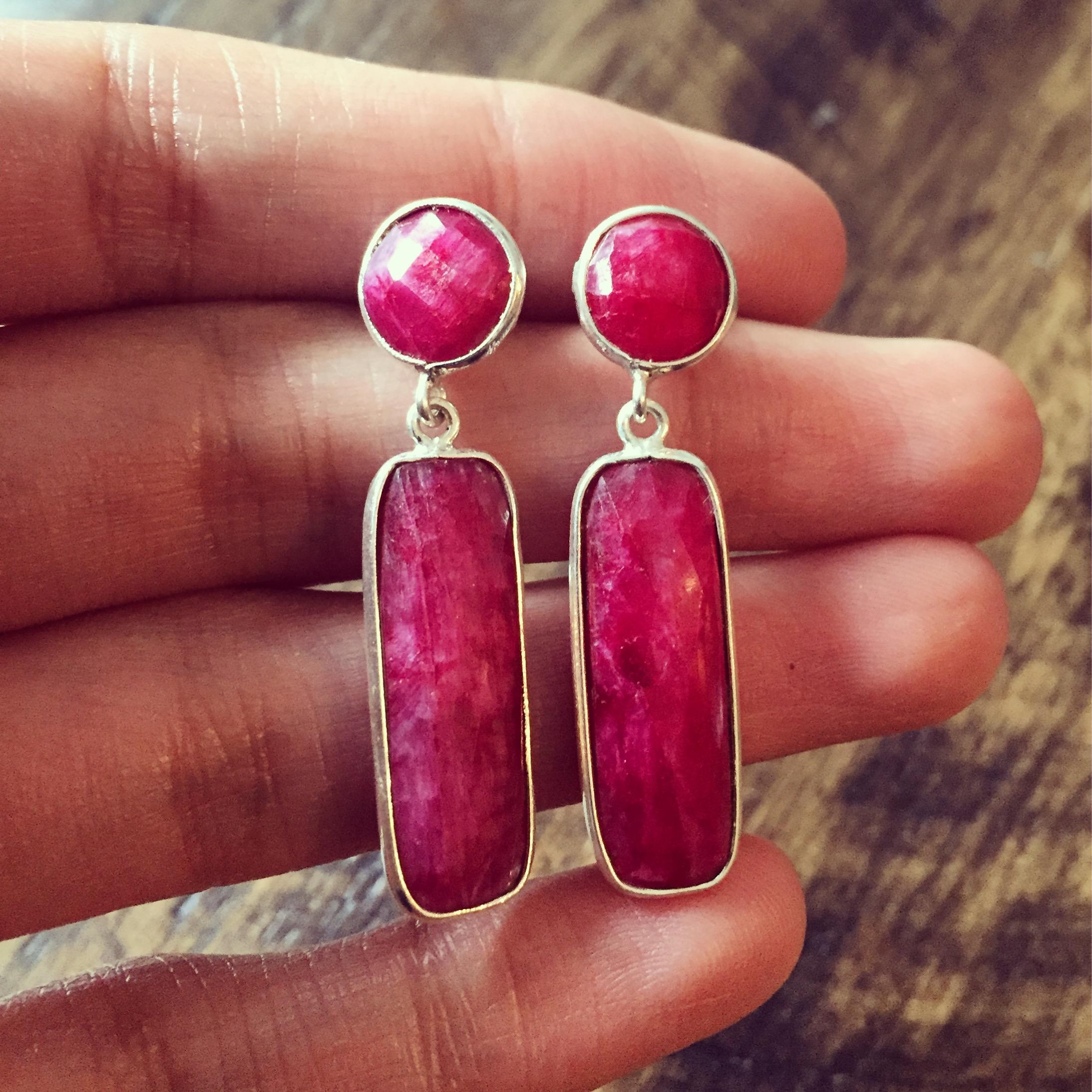 Ruby 925 Sterling Silver Earrings