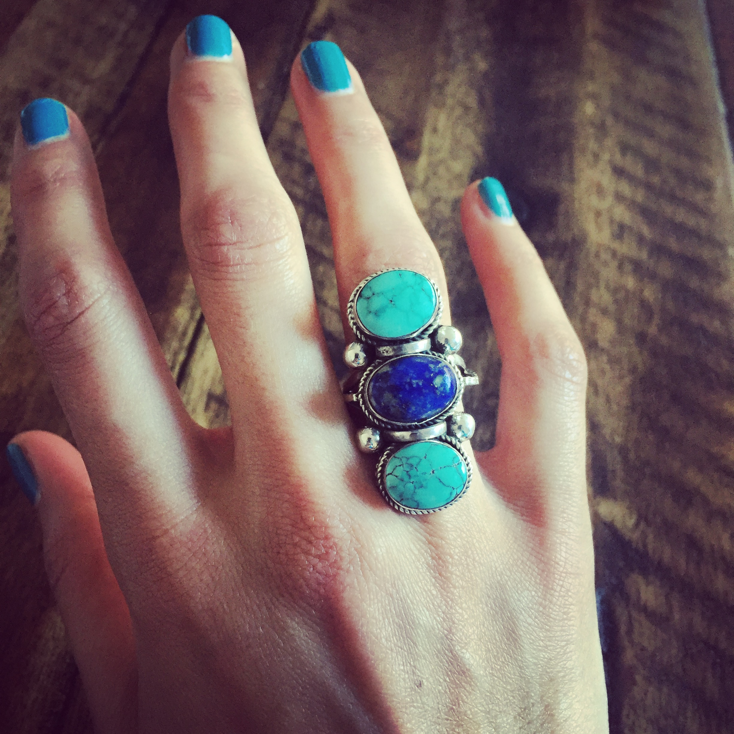 Turquoise Lapis 925 Sterling Silver Ring