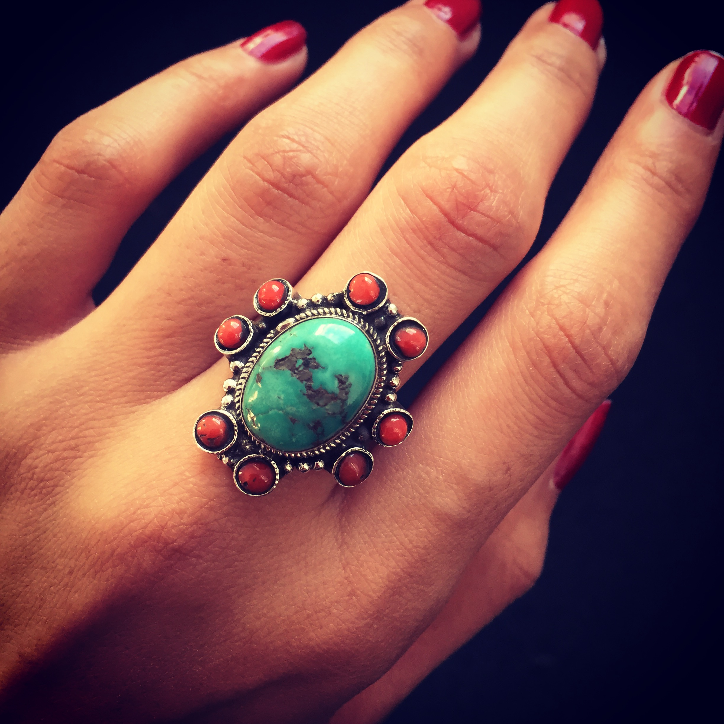 Turquoise Coral 925 Sterling Silver Ring