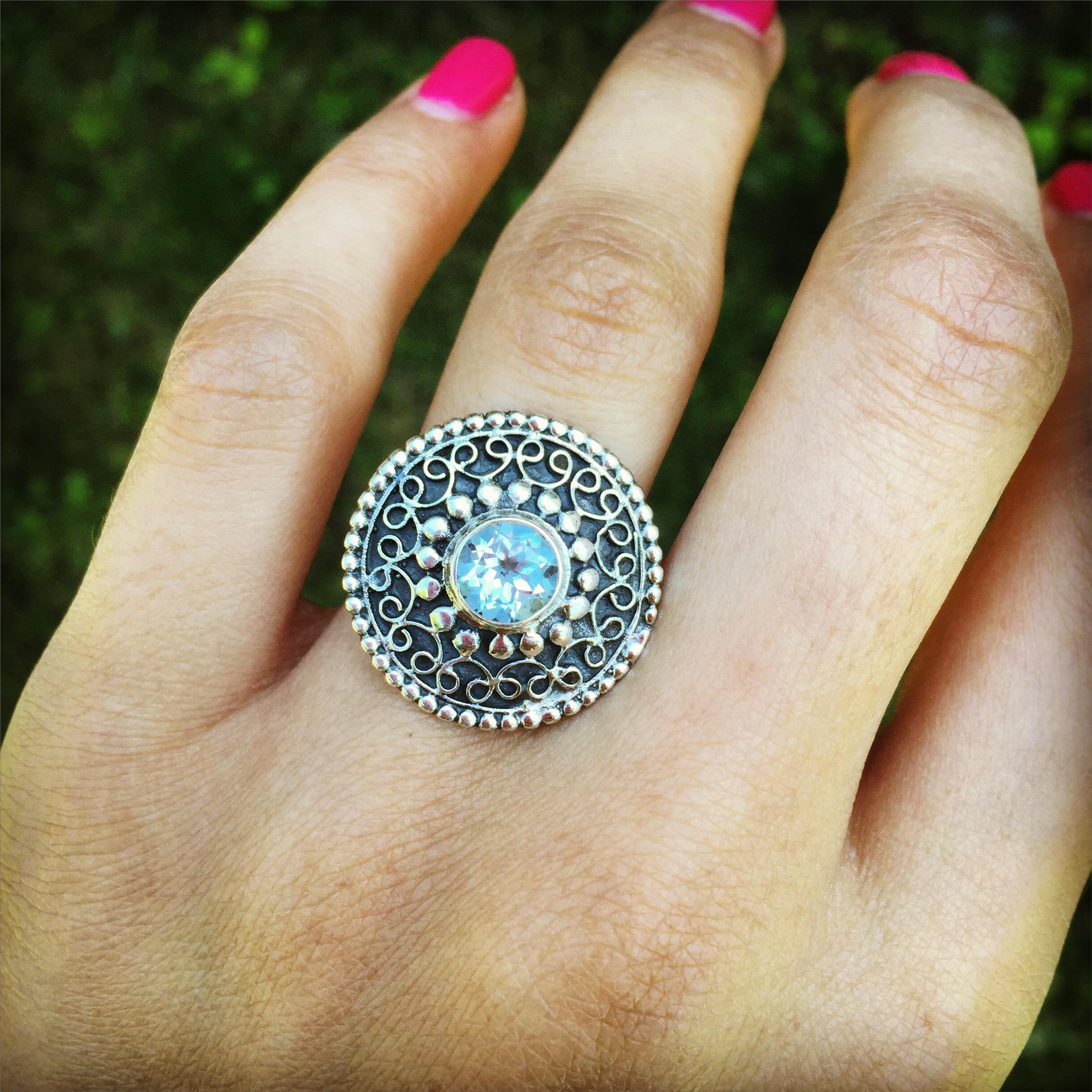 blue topaz 925 Sterling Silver Ring