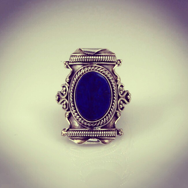 Sterling silver ring with lapis semi precious stone