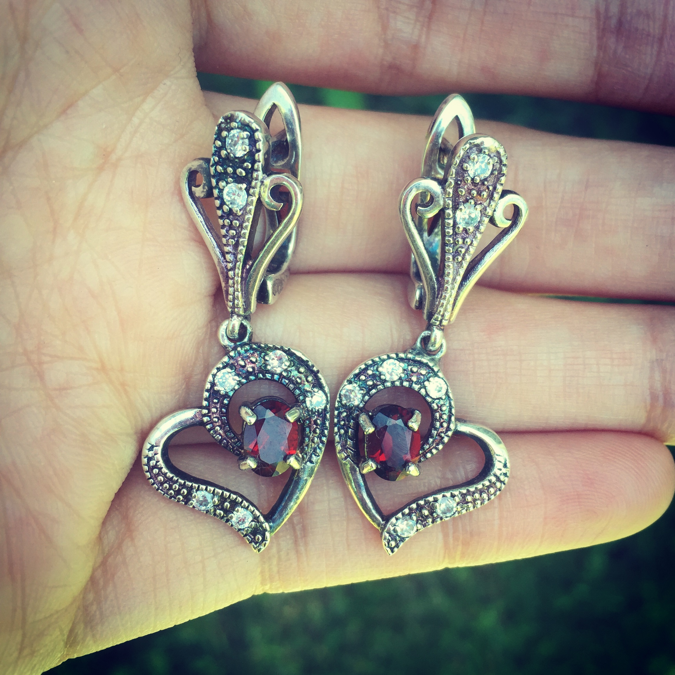 Love heart sterling silver earrings with garnet and zircon semi precious stones