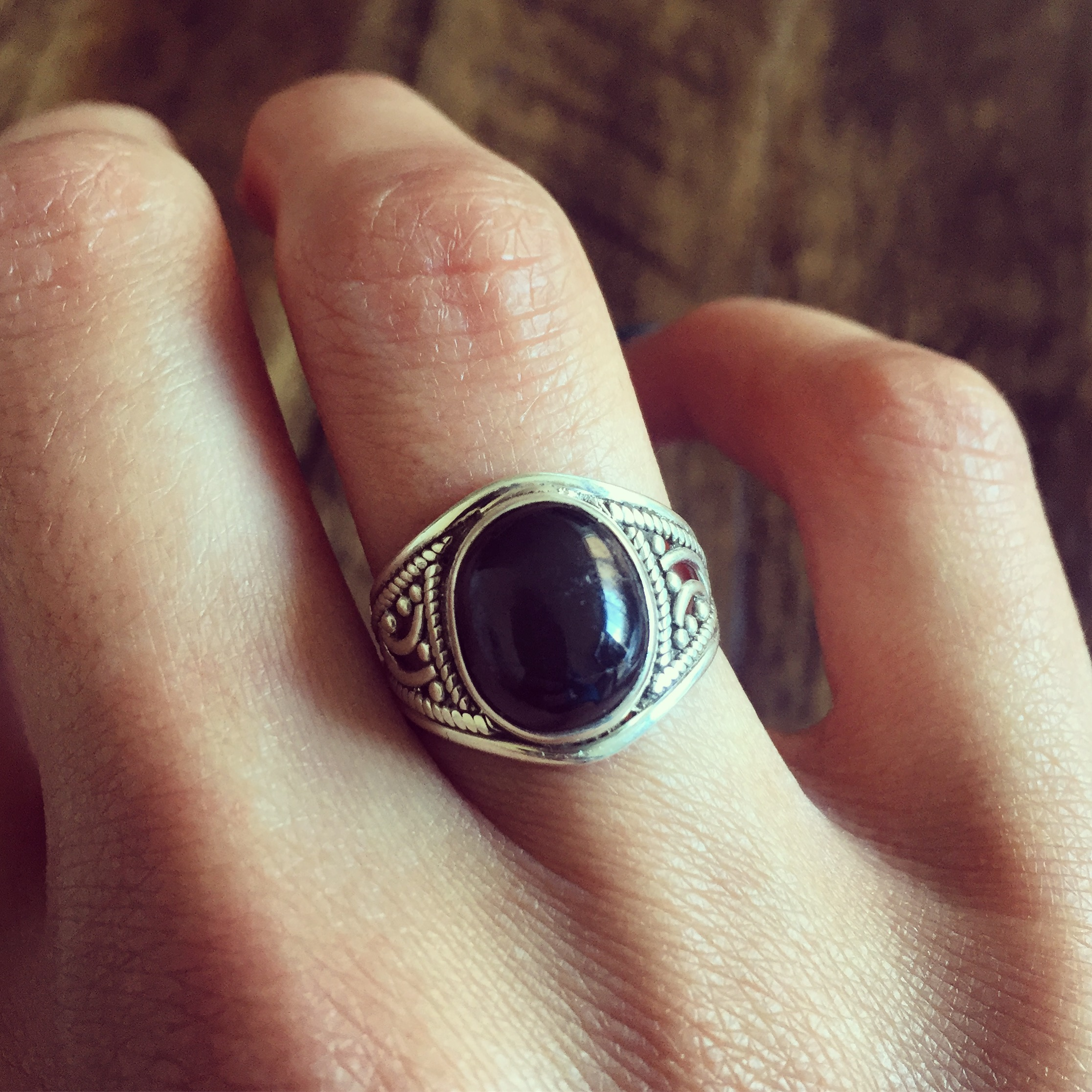 Black Star 925 Sterling Silver Ring