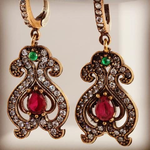 Colorful vase sterling silver earrings with zircon semi precious stones