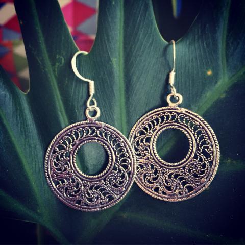 Oriental sunshine sterling silver earrings