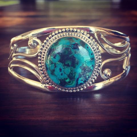 Azurite Malachite 925 Sterling Silver Bracelet