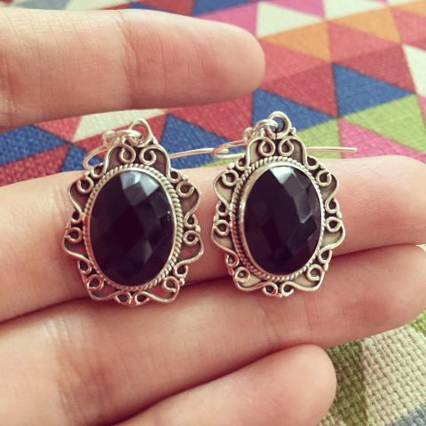Black Onyx 925 Sterling Silver Earrings
