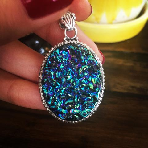 Drusy 925 Sterling Silver pendant