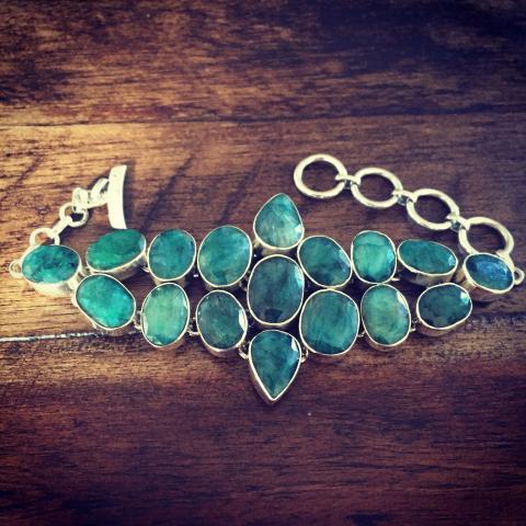 Emerald 925 Sterling Silver Bracelet