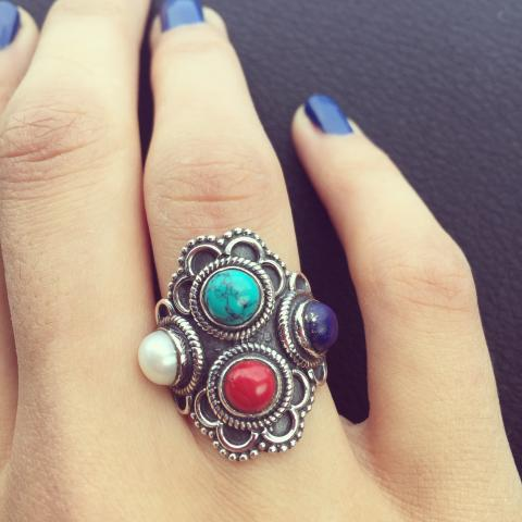 Lapis Turquoise Coral Pearl 925 Sterling Silver Ring