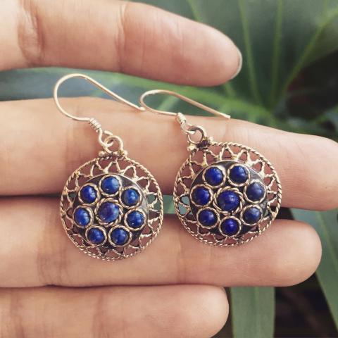 Lapis 925 Sterling Silver Earrings
