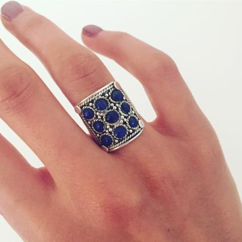 Lapis stone antique sterling silver ring