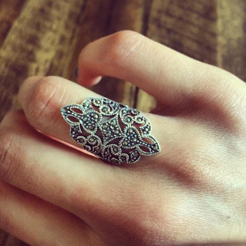 Marcasite only roman guard sterling silver ring