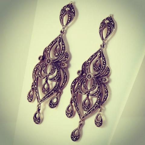 Marcasite only chandelier sterling silver earrings