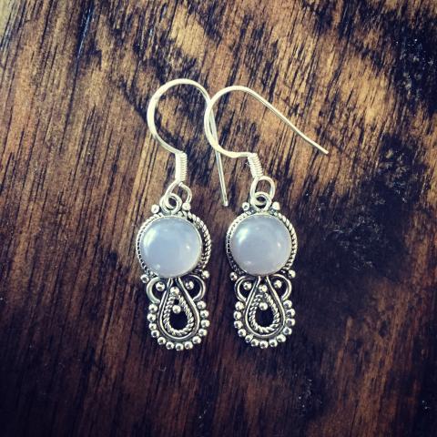 Rose Quartz 925 Sterling Silver Earrings