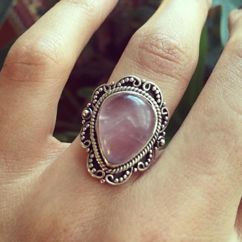 Rose Quartz 925 Sterling Silver Ring