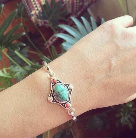 Coral and Turquoise 925 Sterling Silver Bracelet