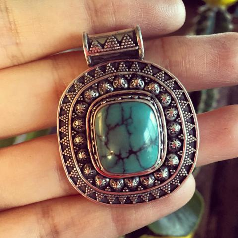 Turquoise antique sterling silver pendant