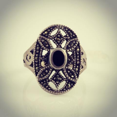 Roman princess sterling silver ring with onyx semi precious stone and marcasite