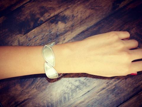 Romance boat plain sterling silver bracelet