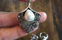 Pearl shell sterling silver jewelry set