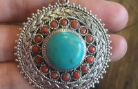 Turquoise and coral sterling silver big pendant