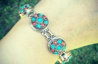 Coral Turquoise 925 Sterling Silver Bracelet