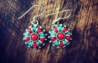 Coral Turquoise 925 Sterling Silver Earrings