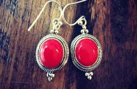 Coral stone 925 Sterling Silver Earrings