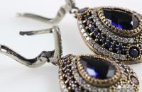 Dark blue drops big sterling silver earrings with zircon semi precious stones