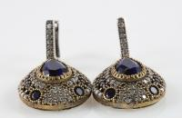 Dark blue drops big sterling silver earrings with zircon semi precious stones