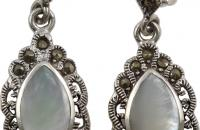 Dreamers eyes sterling silver earrings with M.O.P Black CZ semi precious stone