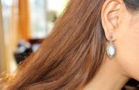 Dreamers eyes sterling silver earrings with M.O.P Black CZ semi precious stone