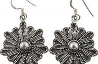 Helianthus flower plain sterling silver earrings